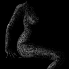 Fototapeta siedząca naga kobieta obraz