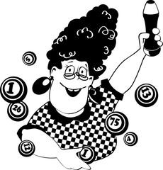 Vector line art of a funny cartoon woman playing bingo, EPS 8, no white objects