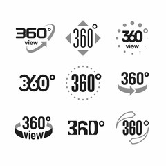 360 degrees view sign, icons set