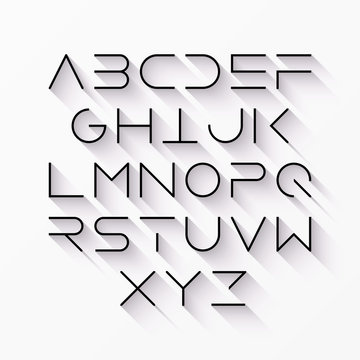 Thin line style, linear uppercase modern font with long shadow, typeface, minimalist style. Latin alphabet letters