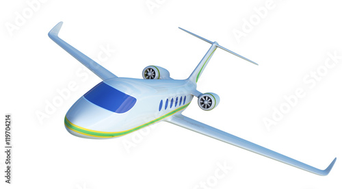 White Two-engine Airplane, White Aeroplane Isolated On White