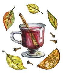 Watercolor Autumn Beverage