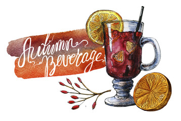 Watercolor Autumn Beverage