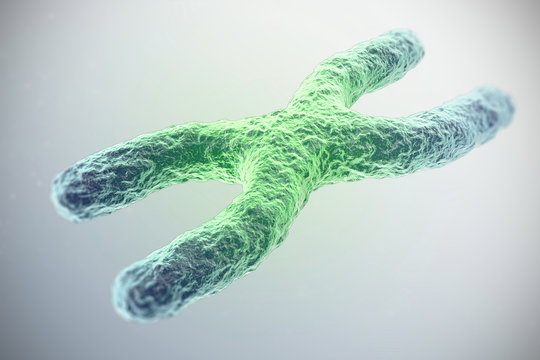 X chromosome, green in the center, the concept of infection, mutation, disease, with focus effect. 3d illustration