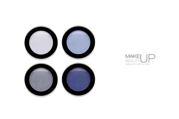 Four Compacts of Eyeshadow in blue colors