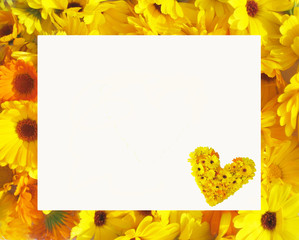 Card with colorful flowers frame and heart made of flowers with empty copy space for text isolated on white background