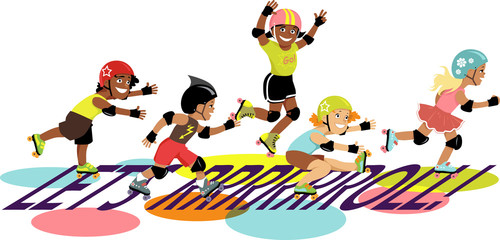 Group of children roller skating , EPS 8 vector illustration, no transparencies