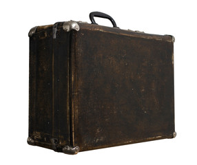 Isolated Scratched Vintage Brown Suitcase on a White Background
