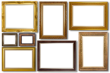 Set of picture frame. Photo art gallery isolated on white backgr