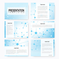 Set of vector templates for multipurpose presentation slides. Brochure, Leaflet, flyer, cover, magazine or annual report. Modern business, science, medicine design. Abstract background with molecule.