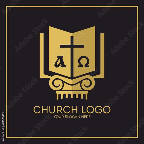 Church Logo Christian Symbols Holy Bible Cross Alpha And Omega