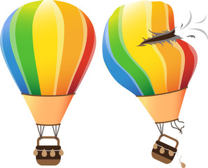 Colourful hot air balloon flying in the sky on a white background. vector illustration. with crash broken hole air balloon