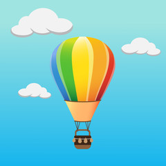 Colourful hot air balloon flying in the sky. vector illustration