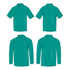 Teal polo shirt and polo with long sleeve isolated vector set