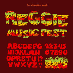 relax reggae music color font. Jamaica style ABC letters with sh