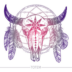 Buffalo Skull With Feathers And Dreamcatcher. Native American Totem