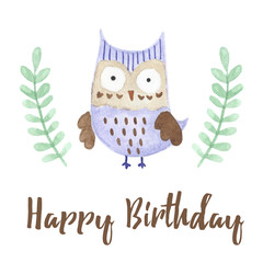 Happy Birthday card with a cute owl