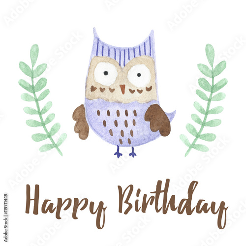 Happy Birthday Card With A Cute Owl Stock Photo And Royalty Free
