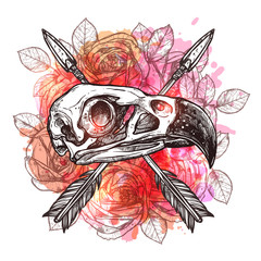 Fashionable Trendy Design With Eagle Skull, Arrows And Flowers