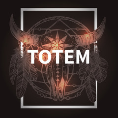Hipster Design With Buffalo Skull And Dreamcatcher. Native American Totem