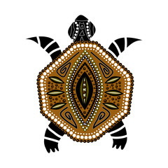 Yellow-brawn turtle in first-nation style