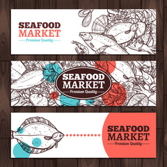 Seafood Market Design. Seafood Banners In sketch Style
