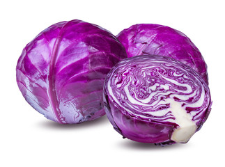 Fototapete - red cabbage isolated on white