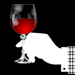 White silhouette of hand holding a glass with red wine