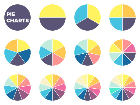 Charts for infographics. Diagrams with 1 - 12 parts.