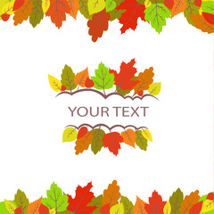 Colorful autumn leaves frame. Vector pattern for your design