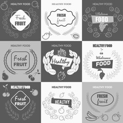 Stylish set logos and elements in thin lines for covers, business cards,  corporate design. fresh fruit,   sale of fruit, advertising and promotion