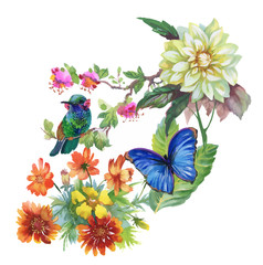 Watercolor hand drawn pattern with summer flowers and exotic birds.