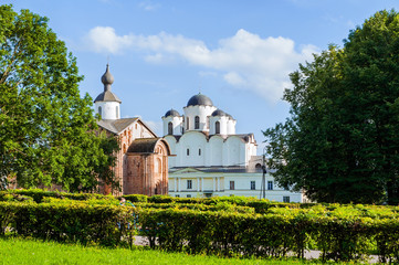 Paraskeva Pyatnitsa church and St. Nicholas cathedral in Veliky Novgorod, Russia - architecture view