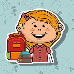 girl student bag color book vector illustration eps10