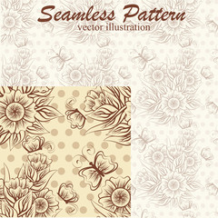 Vintage seamless pattern with flower and butterfly, vector illustration
