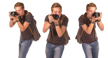 Young paparazzi with camera
