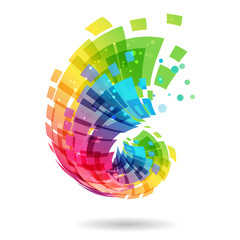 Abstract element, multicolored design concept