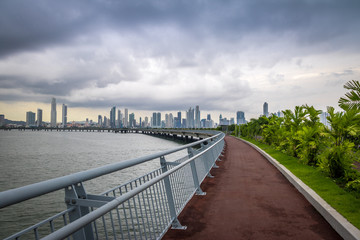 Jogging path wit skyline view in Cinta Costera - Panama City, Panama