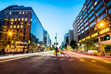 Long Exposure of Connecticut Avenue in Downtown Washington, Dist Wall mural