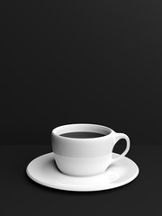 Cup of coffee on black background with copyspace. 3d illustration