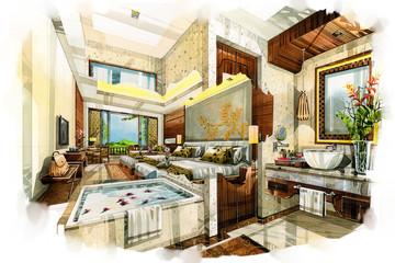 sketch interior bath room into a watercolor on paper.