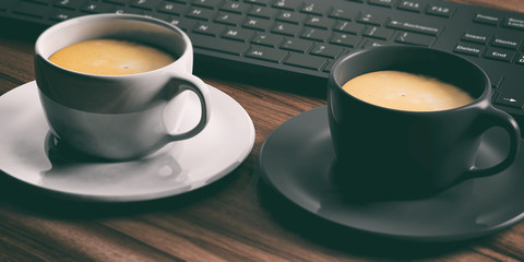 Cups of coffee on an office desk. 3d illustration