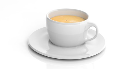 Cup of coffee on white background. 3d illustration