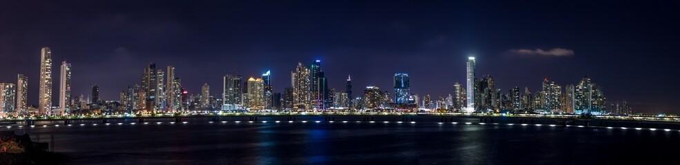 Panoramic view of Panama City Skyline at night - Panama City, Panama
