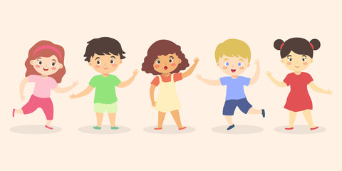 Fun cute multi ethnic Boys and Girls Kid group Set Cartoon Vector illustration