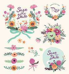 Vintage floral elements