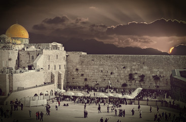 Biblical motif in old city of Jerusalem, Israel. Composite image treated with B&W filter