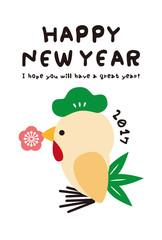 2017年 酉 年賀状 キュートで気の利いた鳥 縦型