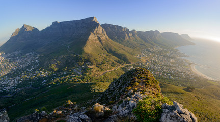 View of Table Mountain and 12 Apostles from Lion's Head. Cape Town. Western Cape. South Africa