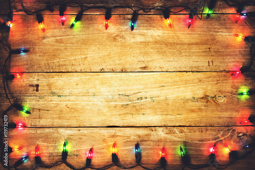 Christmas Lights Merry Xmas Background Old Wood Texture